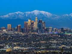 Snow In Los Angeles (clarsonx) Tags: losangeles california kennethhahnstatepark dtla la city cityscape twilight dusk downtown skyline sangabrielmountains snow winter mtbaldy buildings