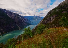 Norwegian nature (steffos1986) Tags: nature landscape norway mountain lake fjord ocean hill countryside norwegen norwegian europe scandinavia norge eidfjord kjeåsen dramatic scenery view sky summer june nikon d5500 sigma1020 explore turism travel flowers town green