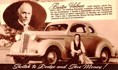 1937 Dodge Coupe with Burton Holmes (aldenjewell) Tags: 1937 dodge coupe burton holmes travel lecturer postcard