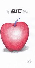 The bic apple. (Klaas van den Burg) Tags: apple bic pen ink red absurd surrealism funny humor crtoon blue black