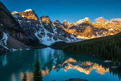 Lake Moraine Sunrise Light Reflection (www.mikereidphotography.com) Tags: banff lakelouise lakemoraine peytolake canmore fairmont sunrise sunset landscape lake canada reflection train town mountains peaks alpenglow water mountain alberta canadian