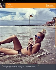 Laughing woman laying in the seashore ... :: #shore #sea #sunglasses #topknot #blondhairedwoman #swimsuit #blackswimsuit #darknails #watches #smilingwoman #inthesea (xuniting1) Tags: topknot inthesea smilingwoman blackswimsuit sunglasses sea blondhairedwoman watches darknails swimsuit shore