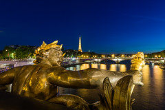 Eiffel Tower from The Pont Alexandre III, Paris France. (les.butcher) Tags: seine river sunset blue hour eiffel tower pont alexandre iii paris france