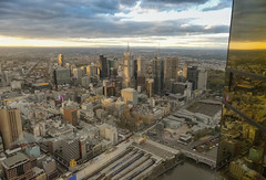 Melbourne from above (Marian Pollock) Tags: australia victoria melbourne fromabove skyline city dusk sunset cbd skyscrapers architecture reflections federationsquare flindersstreetstation window stpaulscathedral southbank yarra