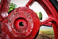Steam locomotive driver wheel, Kennesaw, Georgia (BDM17) Tags: steam locomotive engine driver driving wheel flange axle train rail railroad red rusted antique kennesaw cobb georgia ga