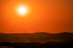 End of the Friday (ErrorByPixel) Tags: sunset sun sky wind turbines bogatynia lower silesia pentax k5 errorbypixel gold hills birds dust pentaxart poland handheld