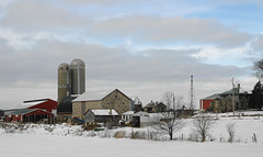 Only the tower is left but has a unique fieldstone barn to protect it (WORLDS APART PHOTO) Tags: windmills windmillwednesday winter barn fieldstonebarns fieldstone farmyard farming agriculture agriculturaldecay agriculturalbarns freedonia freedoniawi snow outdoors