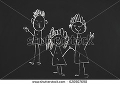 The drawing chalk on a board. (daria.boteva) Tags: art background black blackboard board boy chalk chalkboard child childhood class classroom dad draw drawing education elementary family father female fun girl green group happiness happy home illustration kids learn love male man mom mother mum parents people school sketch sun together togetherness union unity white woman write young