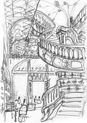 Porto, librairie Lello (Croctoo) Tags: croctoo croctoofr croquis crayon portugal porto librairie lello