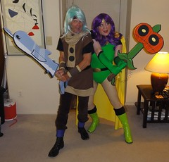 Warriors for Hire are here! (rgaines) Tags: costume cosplay crossplay drag mightymagiswords warriorsforhire vambrewarrior prohyaswarrior zombiepumpkinmagisword dolphinmagisword