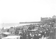 Performers at North Foreshore, Bridlington circa 1900 (archive ref DDX1068-1) (East Riding Archives) Tags: seaside holiday holidays coast coastal resort resorts town towns tourism tourists bridlington beach performers performance entertainment