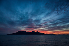 Sunset Over The Isle of Rhum (mark_mullen) Tags: atlanticocean canon24105 canon5dmk3 eigg elizabethg hebridescruises innerhebrides isleofrum laigbay markmullenphotography scotland scottish smallisles westcoast cruiseship dusk islands landscape serene sunset