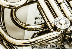 Brass Wind Instrument Close Up - French Horn (Peter Greenway) Tags: tubes keys valves musicalinstruments flickr brass horn frenchhorn windinstrument brassinstrument woodwind petergreenway bcb instrument