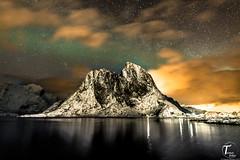 TemaFoto - Lofoten - Aurora-4 (Tor Magnus Anfinsen) Tags: lofoten mountain norge norway aurora nordlys northern light water snow reflection hdr