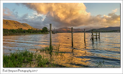 Ullswater at Sunset (Paul Simpson Photography) Tags: lgg3 mobilephonephotography cellphoneimages lakedistrict ullswateratsunset sunset ullswater cumbria water lake paulsimpsonphotography nature fence imagesof imageof photoof photosof grass evening england may2017 mountains hills clouds goldenhour reflection waterreflection landscape sky cloud