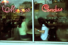 1955 (draketoulouse) Tags: chicago montrose avenue street streetphotography people nostalgia color city urban steam rain store candy teen girl reflection window