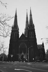 I Ain't Hiding (Swebbatron) Tags: australia 2008 melbourne victoria city blackandwhite mono radlab fuji travel church cathedral street religion stpatrickscathedral catholic catholicism