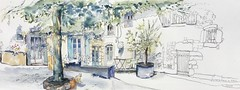 """""""La petite place au tilleul"""" Lourmarin (Place de Castelas) (alainhonoratlefebvre dit """" ALHO """") Tags: lourmarin andré rouquet provence tilleul dessin croquis aquarelle"""