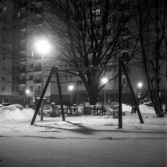 Katowice, Poland. (wojszyca) Tags: yashica mat 124g tlr 6x6 120 mediumformat fuji neopan acros 100 hc110 163 epson v800 night longexposure snow winter residential socialist modernism