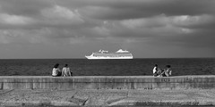The Two Couples and the Sea (DCullenV) Tags: photo photography landscape seascape clouds people street streetphotography skyscape couples ship cruise boat ps digital handheld dslr nikon d600 day spring ocean océano atlantic travel public publicspace seawall malecón habanacentro lahabana cuba havana vista view symmetry water black blackandwhite blancoynegro blackwhite bw decv david cullen vidal geotagged avenidademaceo candid cruiseship urban city love minimalism skancheli