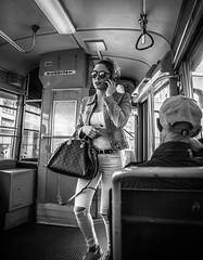 Tramspotting (Henka69) Tags: tram publictransportation milano streetphoto street candid monochrome bw shades