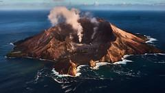 White Island (flowerikka) Tags: newzealand whiteisland bayofplenty vulcano submarinvulcano view helicopter crater jamescook maori whakatane sea blue schwefel dampf sunrise
