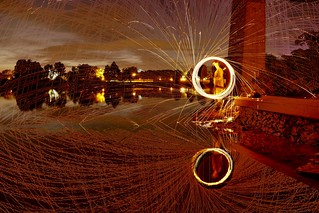 Fire Spinning by lake on Ile Sainte Helene