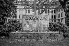"Apple Iphone SE Photography Test, Dawson College - Montreal, Quebec, Canada, 2017 (Photographie Alexi ""Alvin"" Dagher Photography) Tags: alvin bw buildingexterior builtstructure facade famousplace montreal nopeople outdoors photographer photography urbanscene architecture blackandwhite bnw cameraraw city dawsoncollege day editorial entrance foliage horizontal iphonese landscape monochrome noone nobody overcast photos pics pictures rawcapture rocks sign windows ©alexidagher quebec canada"