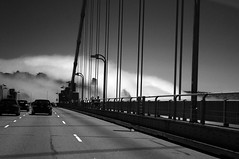 Golden Gate and fog (InnAtElmwood) Tags: sf sanfrancisco goldengate bridge bnw bw blackwhite blackandwhite fog