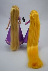 Classic Rapunzel Doll (2016) vs Rapunzel Adventure Doll (2017) - Deboxed - Standing Side by Side - Full Rear View (drj1828) Tags: us disneystore rapunzel tangled comparison 12inch 10inch posable doll deboxed