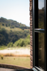 Rear Window (DanAie) Tags: window view color composition composizione toscana tuscany country landscape yard italia italy maremma grosseto light warm mood vintage
