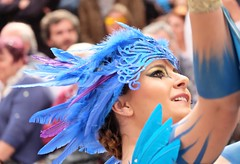 Blue Dances ...... (davidgv60) Tags: david60 alcoi paisvalencia españa zoomenmovimiento color danzarinas desfile calle laentrademoros fiesta fiestas festes photodgv