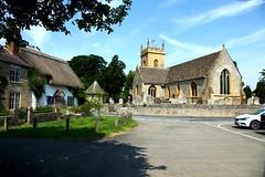 "The Church at Bretforton, St Leonard (Heaven`s Gate (John)) Tags: church stone cotswalds england johndalkin heavensgatejohn sunshine blue sky tree thatched cottage tower bretforton architecture ""flickrtravelaward"""