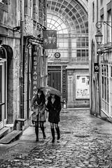 Lèche vitrine sous la pluie ! (bertranddorel) Tags: mono bw bn bnw blackandwhite femmes parapluie pluie rain saintmalo bretagne france europe street streetphoto contrast ruelle intramuros tourisme restaurant marché pavés citécorsaire city ville ciutad umbrella paraguas
