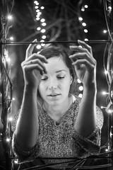 (Esther'90) Tags: portrait portraitphotography portraitwoman portraiture portraits portraitmood woman womanportrait winter evening christmas christmaslights 2015 bokeh bokehbackground blackandwhite blackandwhiteportrait blackandwhitephotography garden