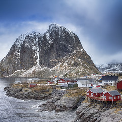 Travel concepts and Ideas. Picturesque Breathtaking View of Hamnoy Village at Lofoten Islands Shot from Upper Point. (DmitryMorgan) Tags: akkarvika fredvang norway norwegian panorama scandinavia skagsanden arctic bay coast countryside environment europe fjord gulf harbor hill house hut idyllic isle light lofoten lofotenislands mountains nature noone nopeople ocean outdoor peak picturesque reine reinefjord scene scenery scenic sea seascape snowy traditional traveldestination travelling village water