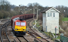 60024 passing Barnetby East Signalbox with an Immingham to Santon loaded iron ore working, 8th April 2015. (Dave Wragg) Tags: 60024 class60 tug dbschenker barnetby barnetbyeastsignalbox loco locomotive railway