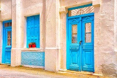 Karpathian windows and doors / Vinduer og dører på Karphatos (Bjorn-Erik Skjoren) Tags: arkitektur karphatos architecture blue door doorandwindow doors greece greek island landskap tourist wakation white