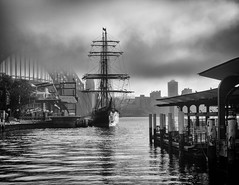 Tall Ship mono [Explore June 12, 2017 #470] (Mariasme) Tags: sydneyharbour tallship fog monochrome blackandwhite jamescraig winter seasons matchpointwinner mpt606 challengeyouwinner