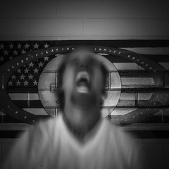Angry Prisoner at Central Unit (Mabry Campbell) Tags: squarecrop person man blur motion angry monochrome blackandwhite 2017 centralunit fortbendcounty houston june mabrycampbell sugarland texas usa unitedstatesofamerica decay decaying historic image old photo photograph prison unitedstates us