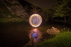 Dovedale Orb (Tom Patterson) Tags: dovedale steppingstones peakdistrict derbyshire peaks reflection led spinning nightphotography lightpainting steelwoolspinning orb orbs globe globes longexposure longexpo england uk greatbritain unitedkingdom gb lights light night