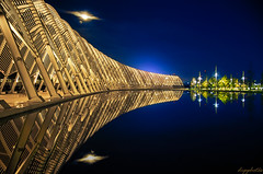 Reflections... (dipphotos) Tags: greece athens oaka reflections water night lights sky symmetry blue bluehour nightshot