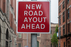 """WHAT THE HELL HAPPENED TO THE """"L"""" [NEW ROAD AYOUT AHEAD]-129123 (infomatique) Tags: sign error funny newroadlayout newroadayout streetsign northernireland may 2017 warningsign williammurphy infomatique fotonique"""