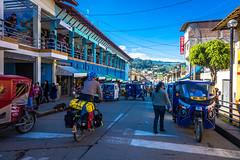 Andrew navigating the streets near the market in Cajabamba.