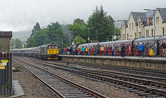 Fort William Rush Hour (whosoever2) Tags: unitedkingdom uk gb greatbritain sony dscrx100m3 may 2017 railway railroad train scotland fortwilliam jacobite stanier black5 45212 caledonian sleeper class73 73966 1y11 wcrc westcoast