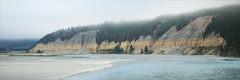 windwhistle-7058-ps-w (pw-pix) Tags: cliff strata layers colours grey yellow green blue river water gravel trees shrubs plants clouds cloudy lowclouds fog overcast longwhitecloud panorama landscape valley hills rakaiariver rakaiagorge rakaiariverbridge windwhistle mounthutt nearmethven canterbury canterburyregion southisland nz newzealand