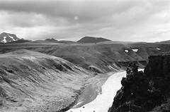 Moonscape (IggyRox) Tags: iceland island scandinavia europe north highlands kjolur arnessysla nature beauty film 35mm mountains sky clouds hike blackandwhite monochrome kerlingarfjoll jokulfall landscape moonscape lunar mosfell skeljafell view river water rockform