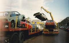 To the scrapyard in 1996 (4) (Fuego 81) Tags: scrap scrapyard car wreck autowrak schroot autosloop sloperij recycling arn smitco zwolle netherlands 1996 opel kadett d 1982 hn43ry vw golf mk1 renault r6 1977 64se27 peugeot 305 1985 np99tz daihatsu charade g10 1984 ld08vr onk bg44vz sidecode4 bn49hr beers scania rm 6x2 as70170v