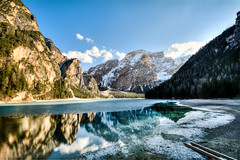 Lago di Braies HDR (Pragser Wildsee) Italy (andrebatz) Tags: lake lago braies di pragser wildsee north italy water frozen sunset blue skies winter snow landscape mountains ridge rock contrast outdoor prags valley trentino alto adige dolomites dolomitas reflection nikon d7100 sigma lens