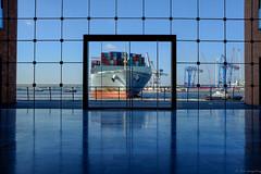 Gerahmter Pott (spityHH) Tags: cosco elbe fuji hafen hamburg holzhafen schlepper x100 x100t containerschiff france